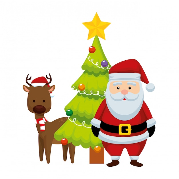 Weihnachten weihnachtsmann mit ren und kiefer Premium Vektoren