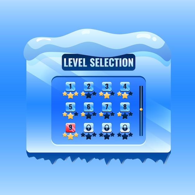 Weihnachten winter spiel ui level auswahl schnittstelle für gui asset elemente Premium Vektoren