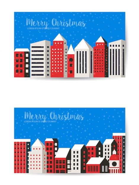 Weihnachten winterlandschaft Premium Vektoren