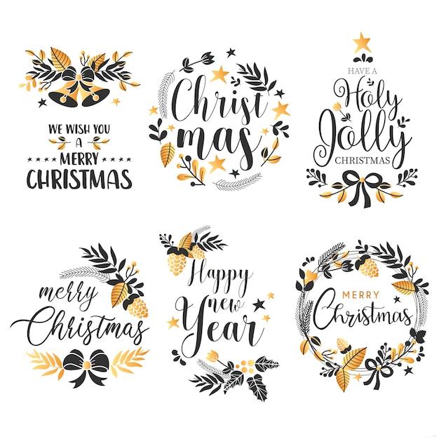 Weihnachts-Abzeichen-Sammlung mit Zitaten und goldenen Verzierungen Kostenlose Vektoren