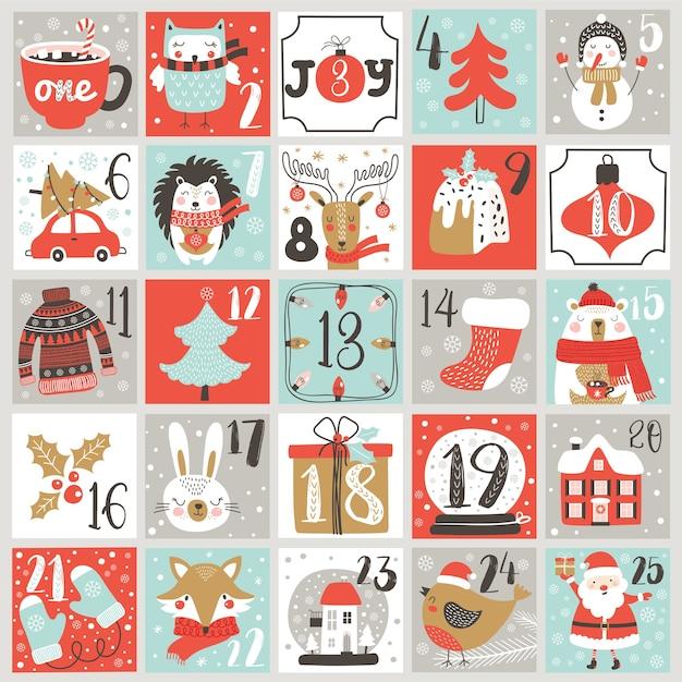 Weihnachts-adventskalender mit handgezeichneten elementen. weihnachtsplakat. Premium Vektoren