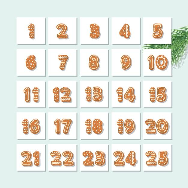 Weihnachts-adventskalender, verziert mit lebkuchenplätzchen. Premium Vektoren