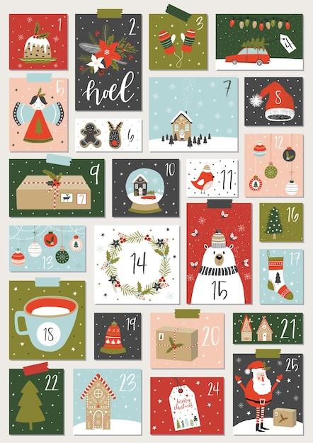Weihnachts-adventskalender. Premium Vektoren