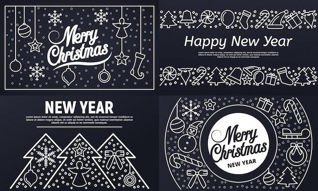 Weihnachts-banner gesetzt. umrisssatz weihnachtsvektorfahne Premium Vektoren