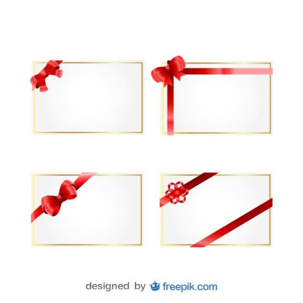 weihnachts geschenk karten mit roten b ndern download. Black Bedroom Furniture Sets. Home Design Ideas
