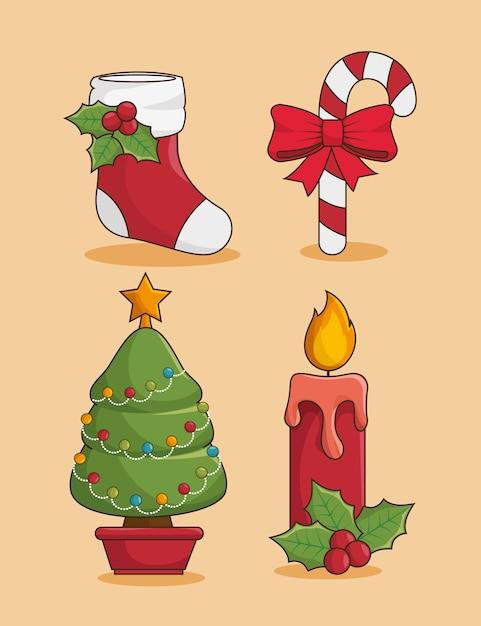 Weihnachts-icon-set Kostenlosen Vektoren