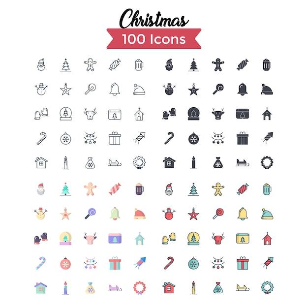 Weihnachts-icon-set. Premium Vektoren