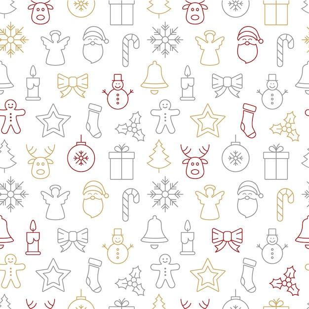 Weihnachts-icons nahtlose hintergrundmuster Premium Vektoren