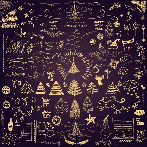 weihnachts icons sammlung download der premium vektor. Black Bedroom Furniture Sets. Home Design Ideas