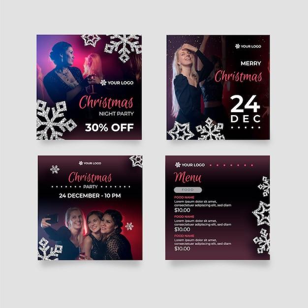 Weihnachts-instagram-beiträge Kostenlosen Vektoren