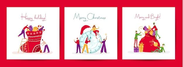 Weihnachts- oder neujahrsgrußkartenset - winzige feiernde leute und weihnachtselfen mit feiertagsgeschenken Premium Vektoren