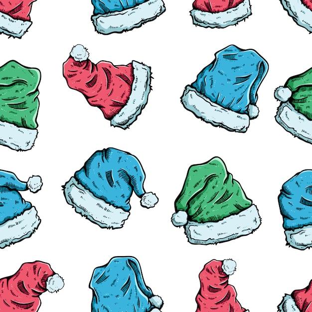 Weihnachts- oder weihnachtsmannmütze im nahtlosen muster Premium Vektoren