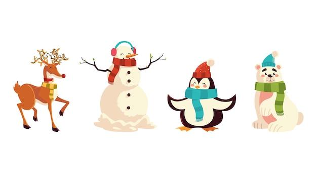 Weihnachts-rentierpinguinbär und schneemanncharakterikonenillustration Premium Vektoren