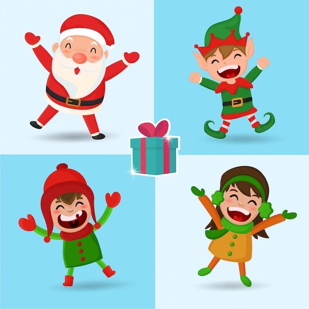 Weihnachts-santa elf und kinderzeichentrickfigur. Premium Vektoren