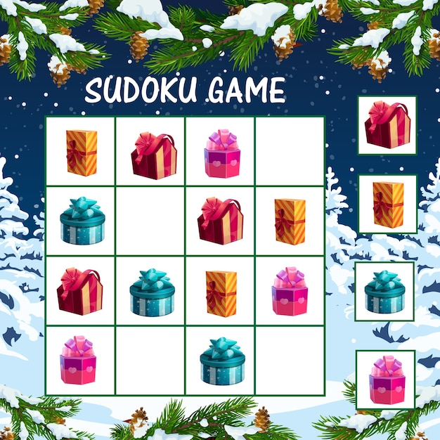 Weihnachts-sudoku-spiel für kinder mit weihnachtsgeschenkboxen. logisches labyrinth der kinder, lernspielschablone mit eingewickeltem in farbigem papier und verziert mit bandbögen präsentiert kastenkarikatur Premium Vektoren