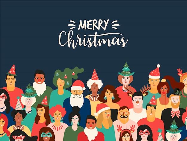 Weihnachts- und guten rutsch ins neue jahr-illustration mit leuten in den karnevalskostümen Premium Vektoren