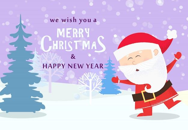 Weihnachts- und neujahrsgrußkarte. tanzen weihnachtsmann Premium Vektoren