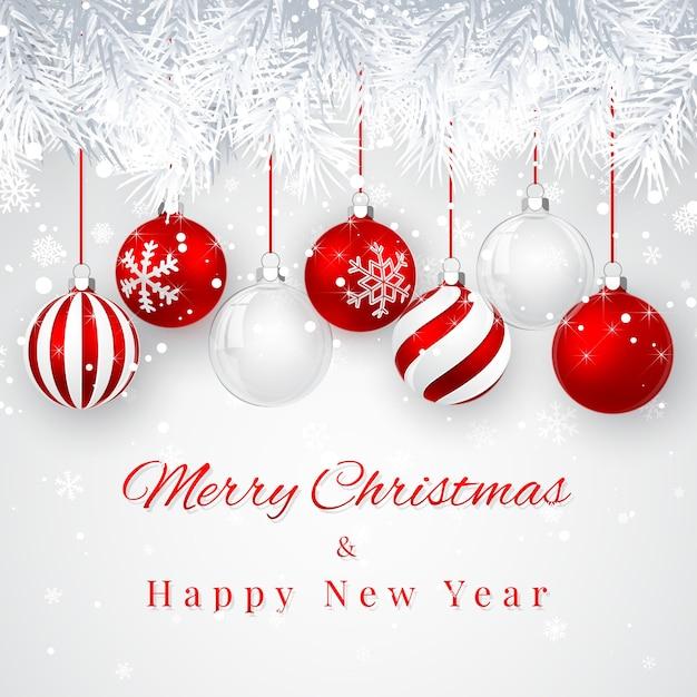 Weihnachts- und neujahrshintergrund mit roten weihnachtskugeln, tannenzweig und schnee für weihnachten Premium Vektoren