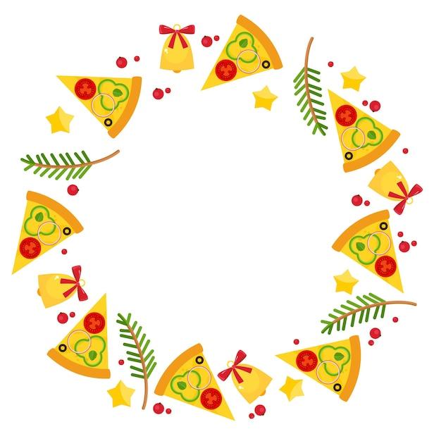Weihnachts- und neujahrskreisrahmen mit pizza. hintergrund für pizzeria-menü, marketingmaterialien, einladungskarten, anzeigen, postkarten Kostenlosen Vektoren