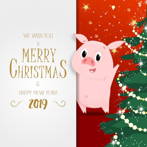 Weihnachts- und neujahrsplakat. funkelnder weihnachtsbaum Premium Vektoren