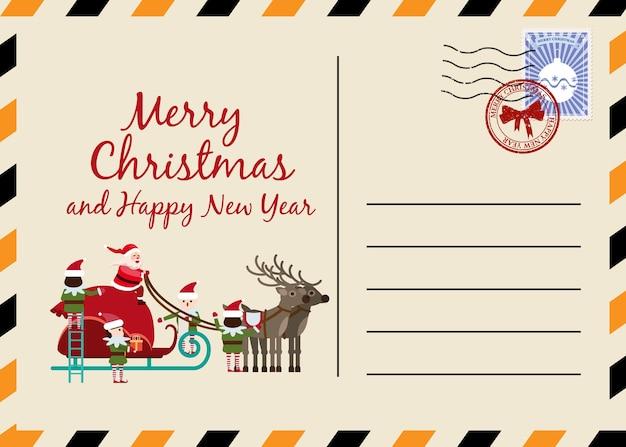 Weihnachts- und neujahrspostkarte mit briefmarken und zeichen. Premium Vektoren