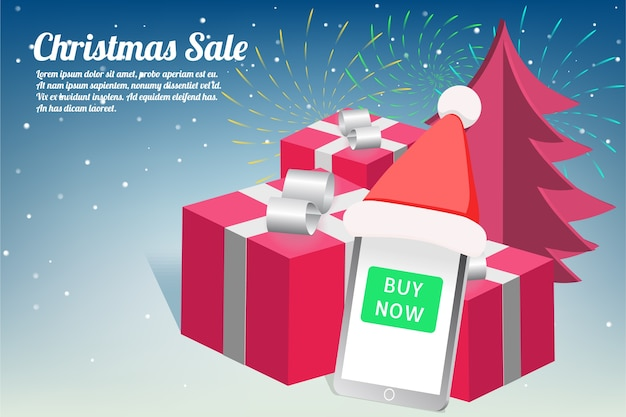 Weihnachts- und neujahrsverkauf mit feuerwerksdesign Premium Vektoren