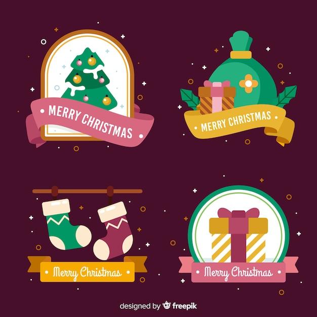 Weihnachtsabzeichensammlung mit konfetti Kostenlosen Vektoren