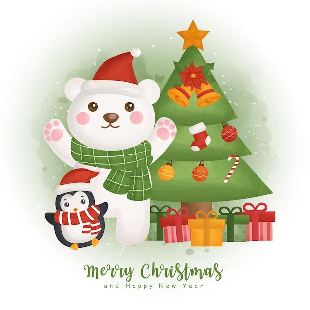 Weihnachtsaquarellwinter mit weihnachtsbaum und weihnachtselement für grußkarten, einladungen, papier, verpackung, Premium Vektoren