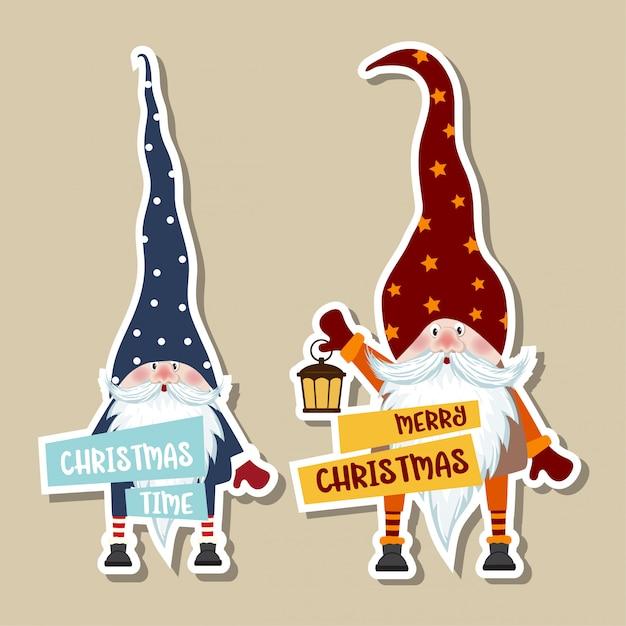 Weihnachtsaufkleber-sammlung mit niedlichen gnomen und wünschen. Premium Vektoren