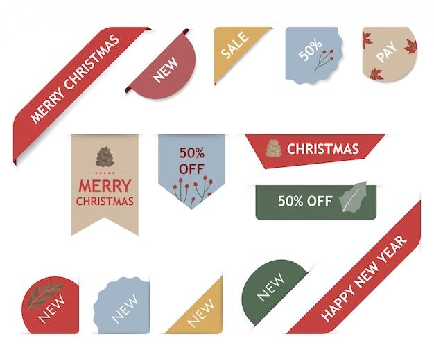Weihnachtsaufkleber und weihnachtsfahnen-markensatz. Premium Vektoren