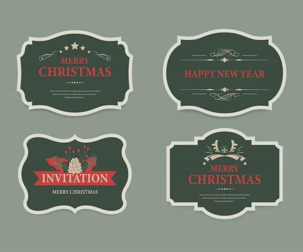 Weihnachtsaufkleber und weihnachtsfahnenweinlese. Premium Vektoren