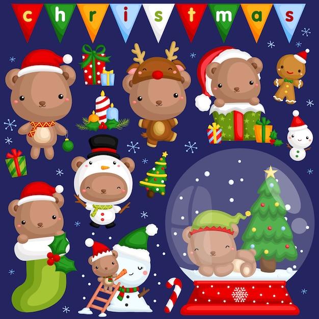 Weihnachtsbär-bild-set Premium Vektoren