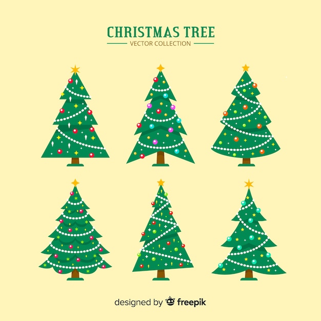 Weihnachtsbäume festgelegt Kostenlosen Vektoren