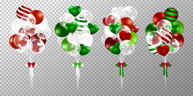 Weihnachtsballone auf transparentem hintergrund. Kostenlosen Vektoren