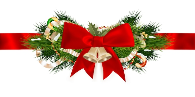 Weihnachtsbanddekoration. Premium Vektoren