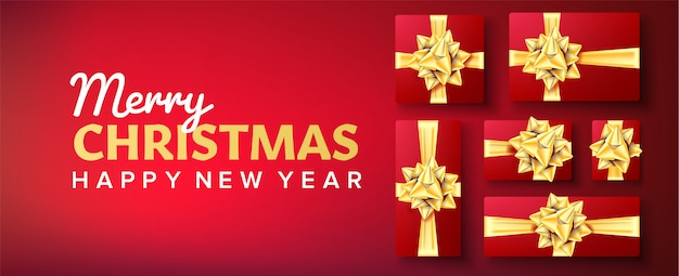 Weihnachtsbanner. geschenkbox mit goldbogen. roter hintergrund Premium Vektoren