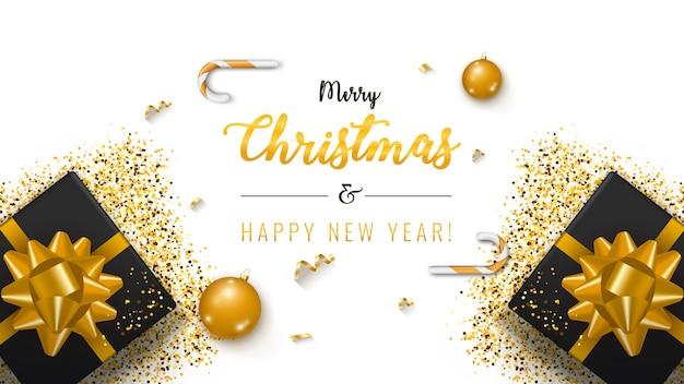 Weihnachtsbanner. hintergrund-weihnachtsdesign mit geschenkbox Premium Vektoren