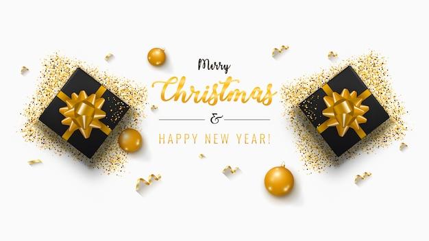 Weihnachtsbanner. hintergrund-weihnachtsdesign mit realistischem geschenkkasten Premium Vektoren