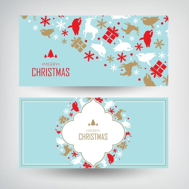 Weihnachtsbanner mit begrüßungswörtern und dekorativen geschenken und traditionellen elementen Kostenlosen Vektoren