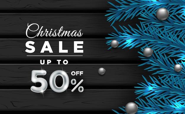 Weihnachtsbannerverkauf mit dekorativen elementen c Premium Vektoren
