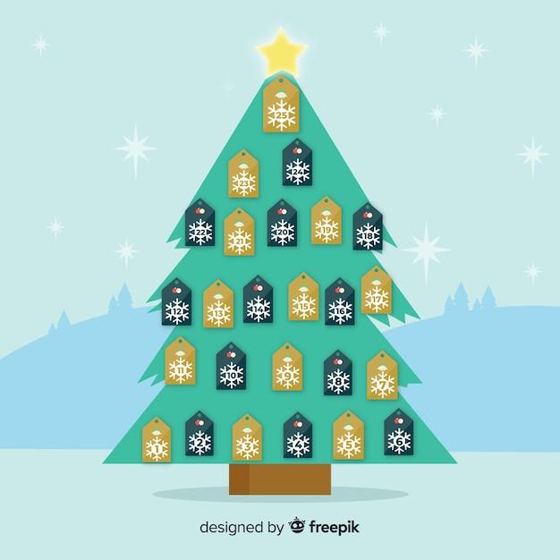 Weihnachtsbaum adventskalender hintergrund Kostenlosen Vektoren