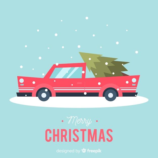 Weihnachtsbaum auf kleintransporter Kostenlosen Vektoren
