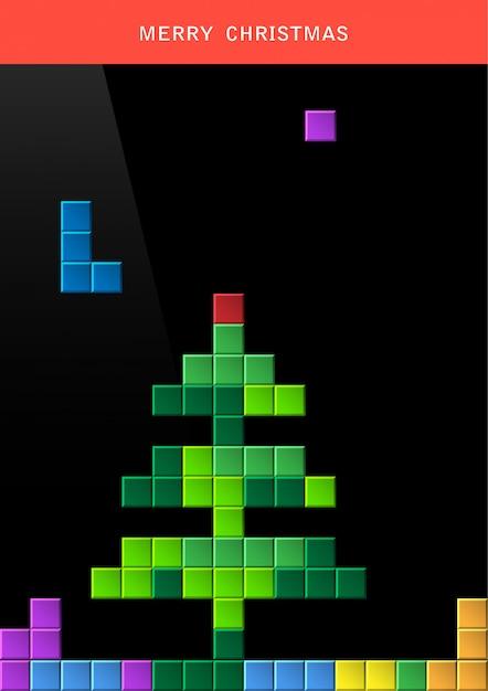 Weihnachtsbaum auf spielbildschirm Premium Vektoren