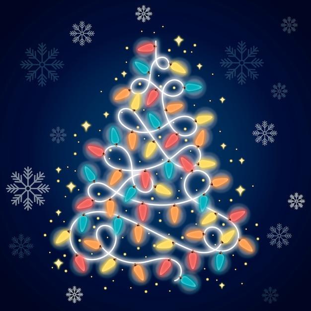 Weihnachtsbaum aus glühbirnen Kostenlosen Vektoren