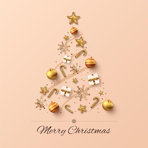 Weihnachtsbaum aus realistischer goldener dekoration Kostenlosen Vektoren