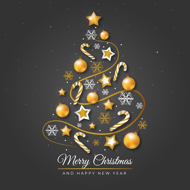 Weihnachtsbaum gemacht von der realistischen goldenen dekorationsillustration Kostenlosen Vektoren