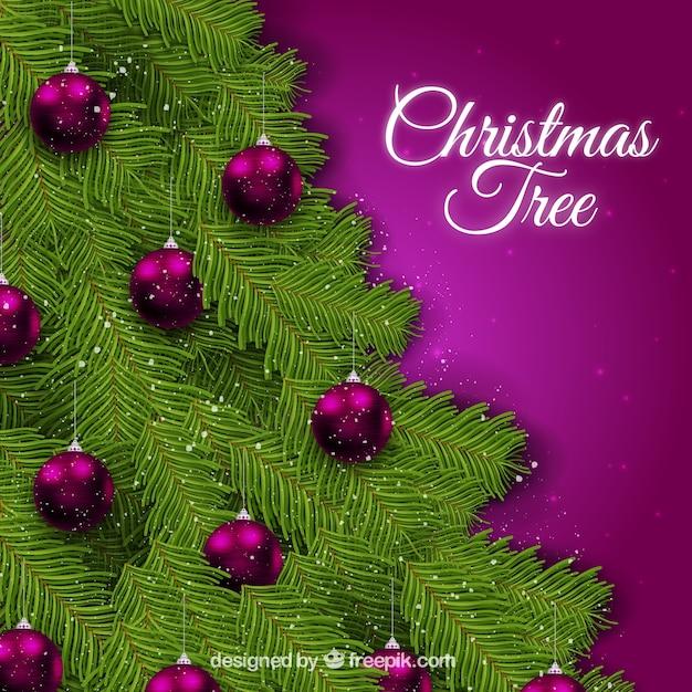 weihnachtsbaum hintergrund mit lila christbaumkugeln. Black Bedroom Furniture Sets. Home Design Ideas