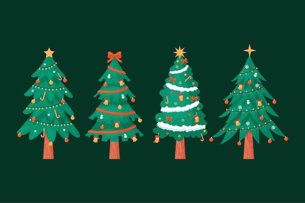 Weihnachtsbaum im flachen design Kostenlosen Vektoren