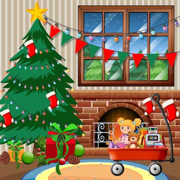 Weihnachtsbaum im haus frohe weihnachtsszene Kostenlosen Vektoren