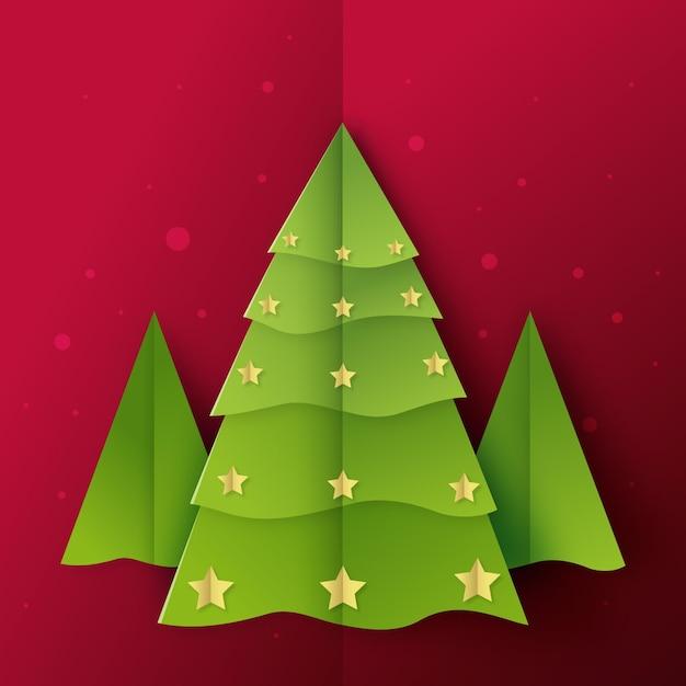 Weihnachtsbaum im papierstil Kostenlosen Vektoren